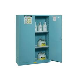 JUSTRITE® 899002 SURE-GRIP® EX CLASSIC CORROSIVE SAFETY CABINET, 90 GAL CAPACITY, 65 IN H X 43 IN W X 34 IN D, MANUAL CLOSE DOOR, 2 DOORS, 2 SHELVES, 18 GA COLD ROLLED STEEL, BLUE