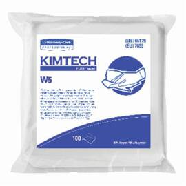 Kimtech Pure* Dry Wiper, Critical Task, Series: W5, 9 in W Size, 100 Wipes Capacity, 9 in Length, White, 50% Rayon/50% Polyester Spunlace, Flat/Anti-Stat Double Bag Packing