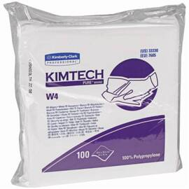 Kimtech Pure* Dry Wiper, Critical Task, Series: W4, 12 in W Size, 100 Wipes Capacity, 12 in Length, White, Polypropylene, Flat/Anti-Stat Double Bag Packing