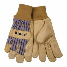 KINCO® 1917KW-XL MEN'S PREMIUM GENERAL PURPOSE GLOVES, XL, GRAIN PIGSKIN LEATHER PALM, PALOMINO, EASY-ON™/POLYESTER KNIT WRIST CUFF, RESISTS: HEAT, WING THUMB