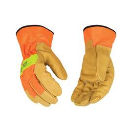 KINCO® 1918-XL GENERAL PURPOSE GLOVES WITH SAFETY CUFF, XL, PIGSKIN PALM, PIGSKIN/NYLON, HI-VIZ ORANGE, SAFETY CUFF, RESISTS: ABRASION, UNLINED LINING, WRAP-AROUND INDEX FINGER/SEAMLESS ANGLED WING THUMB
