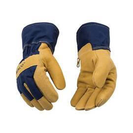 KINCO® 1926-L GENERAL PURPOSE GLOVES WITH SAFETY CUFF, L, SUEDE PIGSKIN PALM, SUEDE PIGSKIN/COTTON BLEND CANVAS, DARK BLUE, SAFETY/SHIRRED ELASTIC CUFF, RESISTS: ABRASION, BUMPS AND COLD, HEAVY STARCHED COTTON-BLEND CANVAS LINING