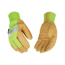 KINCO® 1939KW-XXL GENERAL PURPOSE GLOVES, 2XL, PIGSKIN LEATHER PALM, NYLON/POLYESTER, HI-VIZ GREEN, ELASTIC KNIT WRIST CUFF, RESISTS: HEAT, HEATKEEP® THERMAL LINING, ANGLED WING THUMB