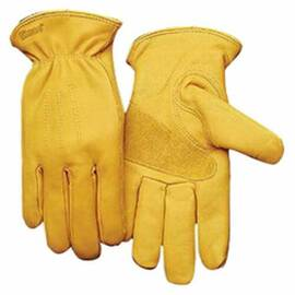 KINCO® 198-M MEN'S PREMIUM GENERAL PURPOSE GLOVES, DRIVERS, M, GRAIN COWHIDE LEATHER PALM, GOLD, EASY-ON™/SHIRRED ELASTIC CUFF, RESISTS: ABRASION, PUNCTURE AND TEAR, UNLINED LINING, ERGONOMIC KEYSTONE THUMB