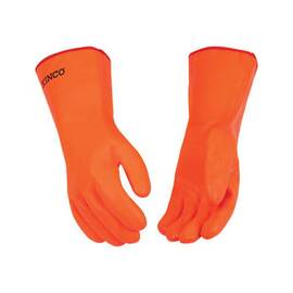 KINCO® 4184-L GENERAL PURPOSE GLOVES, L, PVC PALM, PVC, HI-VIZ ORANGE, GAUNTLET CUFF CUFF, PVC COATING, RESISTS: ABRASION, CHEMICALS, GASOLINE, GREASE AND OIL, SOFT-TOUCH™ THERMAL FOAM LINING, STRAIGHT THUMB