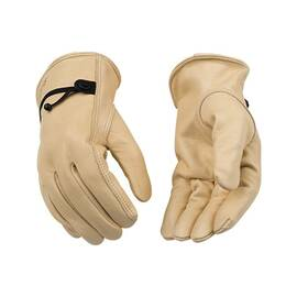 KINCO® 99-L DRIVER GLOVES WITH PULL-STRAP, DRIVERS, OUT-SEAM INDEX FINGER/KEYSTONE THUMB STYLE, L, COWHIDE LEATHER PALM, COWHIDE LEATHER, TAN, BALL/TAPE PULL-STRAP CUFF, RESISTS: ABRASION, PUNCTURE, WEAR AND TEAR, UNLINED LINING