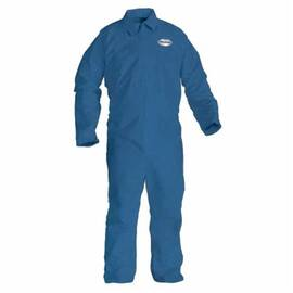 KLEENGUARD* 45312 A65 ANTI-STATIC DISPOSABLE FLAME RESISTANT COVERALL, M, BLUE, POLYESTER SPUN, 38 TO 40 IN CHEST, 30 IN L INSEAM