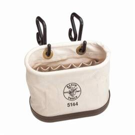 Klein® 5144 Oval Shape Aerial Tool Bucket With Hooks, 10 In H X 7 In W X 14 In D, 15 Pockets, Canvas, Natural