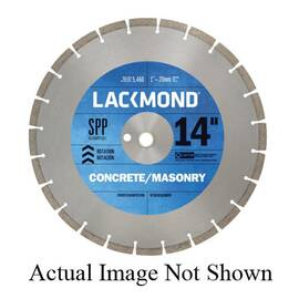 Lackmond® Sg12Spp1251 Spp Laser Weld Segmented Diamond Blade, 12 In Dia, 1/8 In W Cutting, 1 In To 20 mm, Wet/Dry