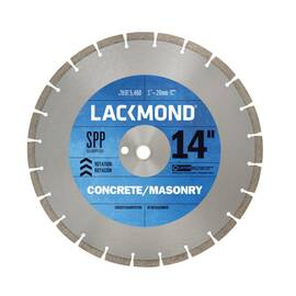LACKMOND® Diamond Blade, Laser Weld Segmented, Series: SPP, 14 in Diameter Blade, 1 in, 20 mm Arbor/Shank, 1/8 in Cutting Width, Dry/Wet Cutting Condition, 10 mm Segment Height, 1/8 in Kerf, Sintered Bond, 4365 rpm Maximum, Applicable Materials: Cured Co