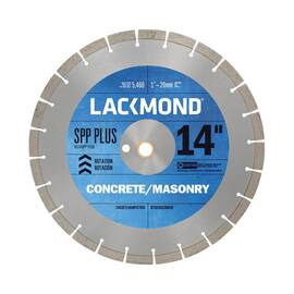Lackmond® Sg14Spp Plus Spp Plus Laser Weld Segmented Diamond Blade, 14 In Dia, 1/8 In W Cutting, 1 In To 20 mm, Wet/Dry