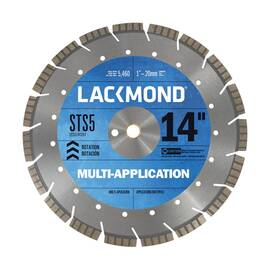 Lackmond® Sts5141251 Sts-5 Laser Weld Segmented Turbo Diamond Blade, 14 In Dia, 1/8 In W Cutting, 1 In To 20 mm, Wet/Dry