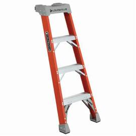 Louisville® Shelf Extension Ladder, Type IA Extra Heavy Duty Professional Single, Series: FH1500, 4 ft Overall Height, 19-3/8 in Overall Width, 300 lb, Fiberglass, Standard Step Rung, 4 Rungs, 3 in Rung Dia, 12 in Rung Spacing, Slip-Resistant Tread, 1 ft