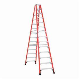 Louisville® FM1414HD FM1400HD Ribbed Type IAA Twin Front Ladder, 14 ft H Ladder, 375 lb Load, 13 Steps, Fiberglass, A14.5