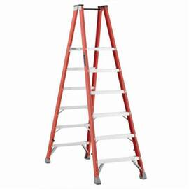 Louisville® Platform Stepladder, Extra Heavy Duty Professional Twin Front, Series: FMP1500, 6 ft Ladder Height, 14-3/8 in Platform Width, 17 in Platform Depth, 5 ft 8 in Platform Height, 300 lb, 28-3/8 in Bottom Width, 69-1/2 in Base Spread, 6 Steps, 3 i