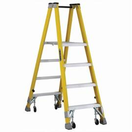 Louisville® Platform Stepladder, Heavy Duty Mechanic Twin Front, Series: FMP2000, 4 ft Ladder Height, 14-3/8 in Platform Width, 17 in Platform Depth, 3 ft 10 in Platform Height, 250 lb, 25-3/8 in Bottom Width, 54-1/4 in Base Spread, 4 Steps, 3 in Step De