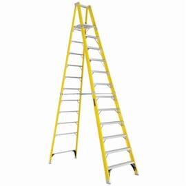 Louisville® Platform Stepladder, Extra Heavy Duty Non-Conductive Professional, Series: FP1100, 12 ft Ladder Height, 15 in Platform Width, 17 in Platform Depth, 11 ft 5 in Platform Height, 375 lb, 36-1/4 in Bottom Width, 82-1/2 in Base Spread, 12 Steps, 3