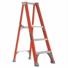 Louisville® Platform Stepladder, Extra Heavy Duty Non-Conductive Professional, Series: FP1500, 3 ft Ladder Height, 15 in Platform Width, 17 in Platform Depth, 2 ft 10 in Platform Height, 300 lb, 23-3/8 in Bottom Width, 34-1/4 in Base Spread, 3 Steps, 3 i