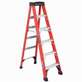 Louisville® Brute FS1406HD FM1400HD Ribbed Type IAA Step Ladder, 6 ft H Ladder, 375 lb Load, 5 Steps, Fiberglass, A14.5