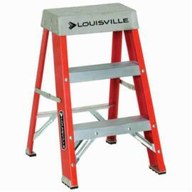 Louisville® FS1502 FS1500 Type IA Non-Conductive Weather Resistant Step Ladder, 2 ft H Ladder, 300 lb Load, 1 Steps, Fiberglass, A14.5