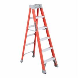 Louisville® FS1506 Standard Step Ladder, 6 ft Ladder, 300 lb Load, IA, Fiberglass, 5 Steps