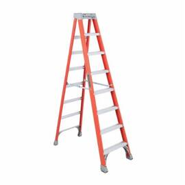 Louisville® FS1508 Standard Step Ladder, 8 ft Ladder, 300 lb Load, IA, Fiberglass, 7 Steps