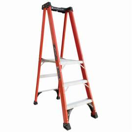 Louisville® Platform Stepladder, Extra Heavy Duty Non-Conductive Professional, Series: FXP1800HD, 3 ft Ladder Height, 14-1/2 in Platform Width, 21-1/4 in Platform Depth, 2 ft 10 in Platform Height, 375 lb, 23-1/8 in Bottom Width, 42 in Base Spread, 3 Ste