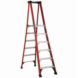 Louisville® Platform Stepladder, Extra Heavy Duty Non-Conductive Professional, Series: FXP1800HD, 6 ft Ladder Height, 14-1/2 in Platform Width, 21-1/4 in Platform Depth, 5 ft 8 in Platform Height, 375 lb, 27-3/4 in Bottom Width, 61-1/2 in Base Spread, 6