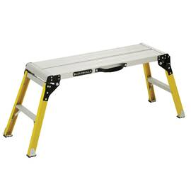 Louisville® Work Platform, Fold-Up Mini Portable, 12 in Platform Width, 36 in Platform Depth, 21 in Platform Height, 300 lb Load, Fiberglass, 52-1/4 in Base Length, 16-1/4 in Base Width, 1 ft 9 in Overall Height, 4 Leg, 1 Steps, 12-1/8 in W x 1-5/8 in D