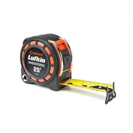 Lufkin® Tape Measure, 2-Sided, Series: Shockforce™, Measuring System: Imperial, 25 ft Blade Length, 1-3/16 in Blade Width, Steel Blade, Stud Markings, 14 ft Standout, Power Return Rewind, Hooked Tape End, Color/Finish: Yellow Blade/Orange/Black Case