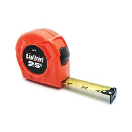 Lufkin® Tape Measure, Series: L600, Measuring System: Imperial, 25 ft Blade Length, 1 in Blade Width, Steel Blade, Graduations: 1/16 in, Stud Markings, Power Return Rewind, Toggle Locking, Hooked Tape End, Closed Case, Color/Finish: Yellow Blade/Hi-Viz O