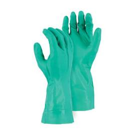 MAJESTIC GLOVE 3240/XXL PREMIUM GRADE CHEMICAL RESISTANT GLOVES, 2XL, NITRILE, GREEN, UNLINED LINING, 12 IN L, RESISTS: ABRASION, PUNCTURE AND SNAG, GAUNTLET/SLIP-ON CUFF, 11 MIL THK