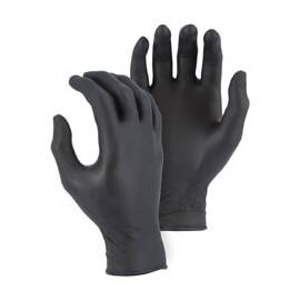 MAJESTIC GLOVE 3273BK/11 NON-STERILE SINGLE USE DISPOSABLE GLOVES, XL, NITRILE, BLACK, NON-POWDERED, TEXTURED FINGER TIP, 4 MIL THK, APPLICATION TYPE: INDUSTRIAL GRADE, AMBIDEXTROUS HAND