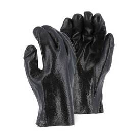 MAJESTIC GLOVE 3357R CHEMICAL RESISTANT GLOVES, L, PVC, BLACK, INTERLOCK LINING, 11 IN L, RESISTS: CHEMICAL, SLIP-ON CUFF