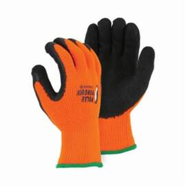 Majestic Glove 3396HO Polar Penguin Palm Coated Glove, 1-Stage Heavyweight, Foam Latex Rubber Palm, Orange/Black, Pre-Curved Finger, Terry Cloth, Latex
