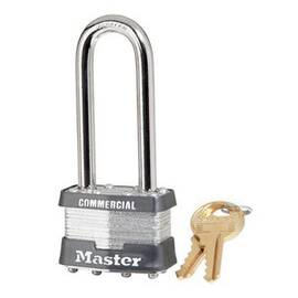 Master Lock® Safety Padlock, Commercial Grade Non-Rekeyable, Alike Key, Laminated Steel Body, 5/16 in Shackle Dia, 2-1/2 in Shackle Height, 3/4 in Shackle Width, Steel Shackle, 1-3/4 in Body Width, 7/8 in Body Thickness, 4-Pin Tumbler Cylindrical/Dual Ba
