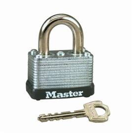 Master Lock® 22Ka Safety Padlock, Alike Key, 1/4 In Shackle, Laminated Steel Body, Warded/Single Lever Locking