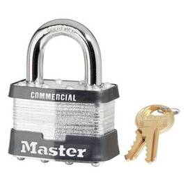Master Lock® Safety Padlock, Commercial Grade Non-Rekeyable, Alike Key, Laminated Steel Body, 9 mm Shackle Dia, 26 mm Shackle Height, 24 mm Shackle Width, Steel Shackle, 55 mm Body Width, 4-Pin Tumbler Cylindrical/Ball Bearing