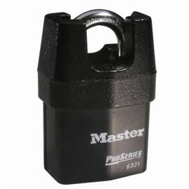 Master Lock® 6321Ka Proseries® Rekeyable Safety Padlock, Alike Key, 5/16 In Shackle, Shrouded Laminated Steel Body, Black, 5-Pin Tumbler Locking
