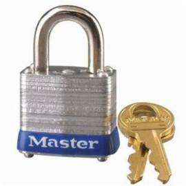 Master Lock® 7Kd Non-Rekeyable Rectangular Safety Padlock, Keyed Different Key, 3/16 In Shackle, Laminated Steel Body, Silver, 4-Pin W7 Tumbler Cylindrical Locking