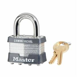 Master Lock® 81Ka Non-Rekeyable Rectangular Safety Padlock, Alike Key, 5/16 In Shackle, Laminated Steel Body, Silver, Dual Locking Lever/5-Pin Tumbler Cylindrical Locking