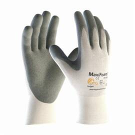 PIP® G-Tek® 34-800 Maxifoam® Premium Grade Coated Glove, Nitrile Palm, Nylon, Abrasion/Cut/Puncture/Tear Resistant, 8.7 in Length, White/Gray