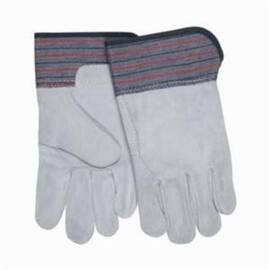 Memphis 1317 Leather Palm Gloves, L, Cowhide Leather Palm, Gray, Gunn Pattern/Standard Finger/Wing Thumb, Cowhide Leather