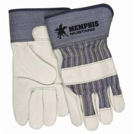 Memphis 1935 Leather Palm Glove, Premium Grade, Cowhide Leather, Abrasion Resistant, 9.63 in Length, Beige