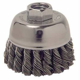 Mighty-Mite™ Cup Brush, Single Row, 2-3/4 in Brush Dia, 3/8-24 UNF Arbor Hole Size, Standard/Twist Knot Filament/Wire Type, 0.014 in Filament/Wire Diameter, Steel Fill, 1 in Trim Length, 14000 rpm Maximum