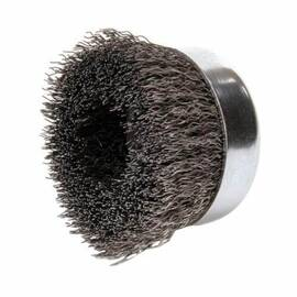 Mighty-Mite™ Cup Brush, 4 in Brush Dia, 5/8-11 UNC Arbor Hole Size, Crimped Filament/Wire Type, 0.02 in Filament/Wire Diameter, Steel Fill, 1-3/8 in Trim Length, 10200 rpm Maximum