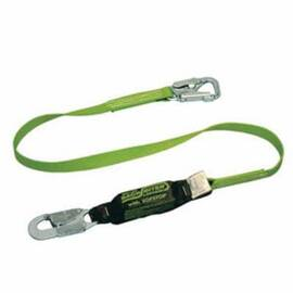 Miller® by Honeywell Shock Absorbing Lanyard, Tie-Back, 6 ft Length, Polyester Webbing Line, Steel Hardware, 2 Leg, Green, 1-3/8 in Strap Width, 5000 lb Tensile Strength, Snap Hook Anchorage Connection, 5/8 in Anchorage Hook Gate Opening, Snap Hook Harne