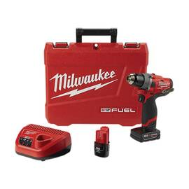 Milwaukee® 2503-22 M12 Fuel™ Cordless Drill Driver Kit, 1/2 In Keyless Chuck, 350 In-Lb Torque, 12 Vac, Lithium-Ion Battery