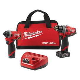 Milwaukee® 2598-22 M12 Fuel™ Cordless Combination Kit, Tools: Hammer Drill, Impact Driver, 12 V, 2, 4 Ah Lithium-Ion
