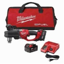 Milwaukee® 2707-22 M18 Fuel™ Hole Hawg® Cordless Right Angle Drill Kit, 1/2 In Metal Chuck, 18 Vdc, 650 Ft-Lb, 0 To 1200 RPM No-Load, 17 In OAL, Lithium-Ion Battery